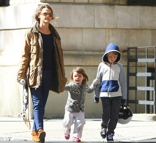 Keri Russell Looking Cool Holding a Skateboard while Strolling the Streets of Brooklyn with Kids